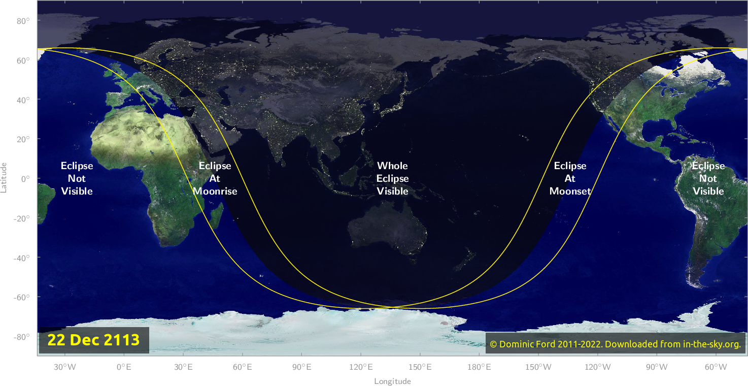 Map of where the eclipse of December 2113 will be visible.