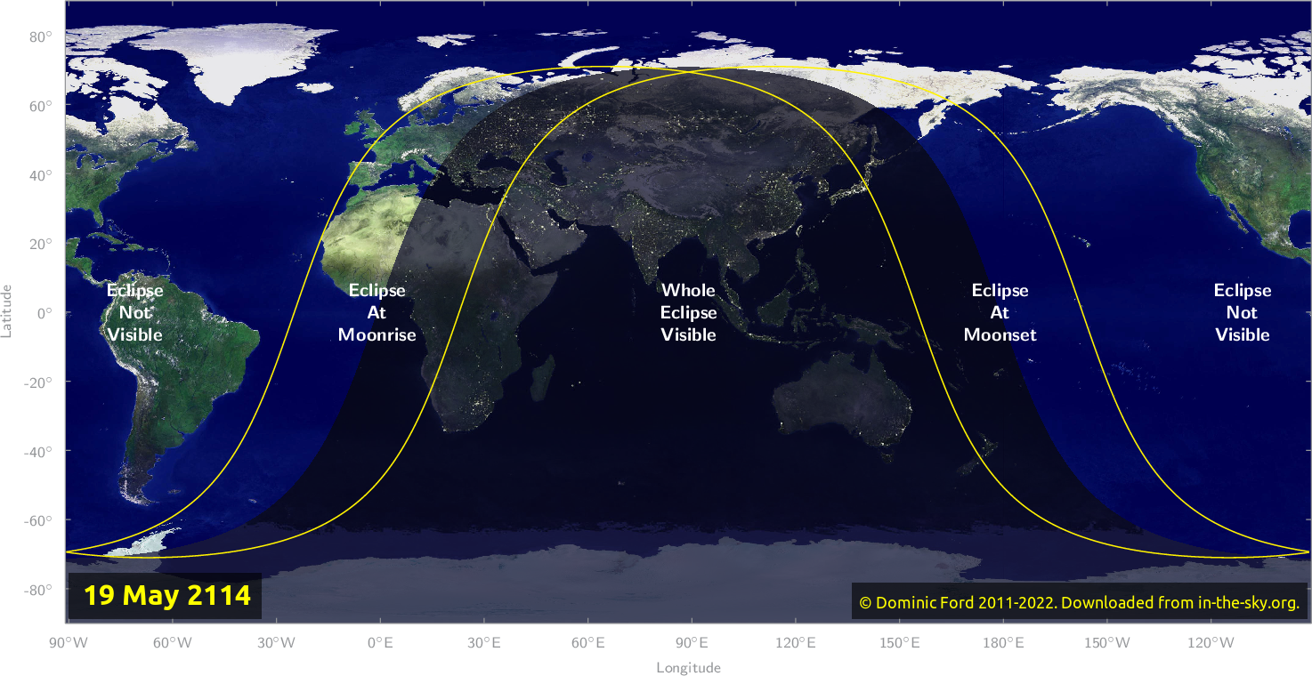 Map of where the eclipse of May 2114 will be visible.