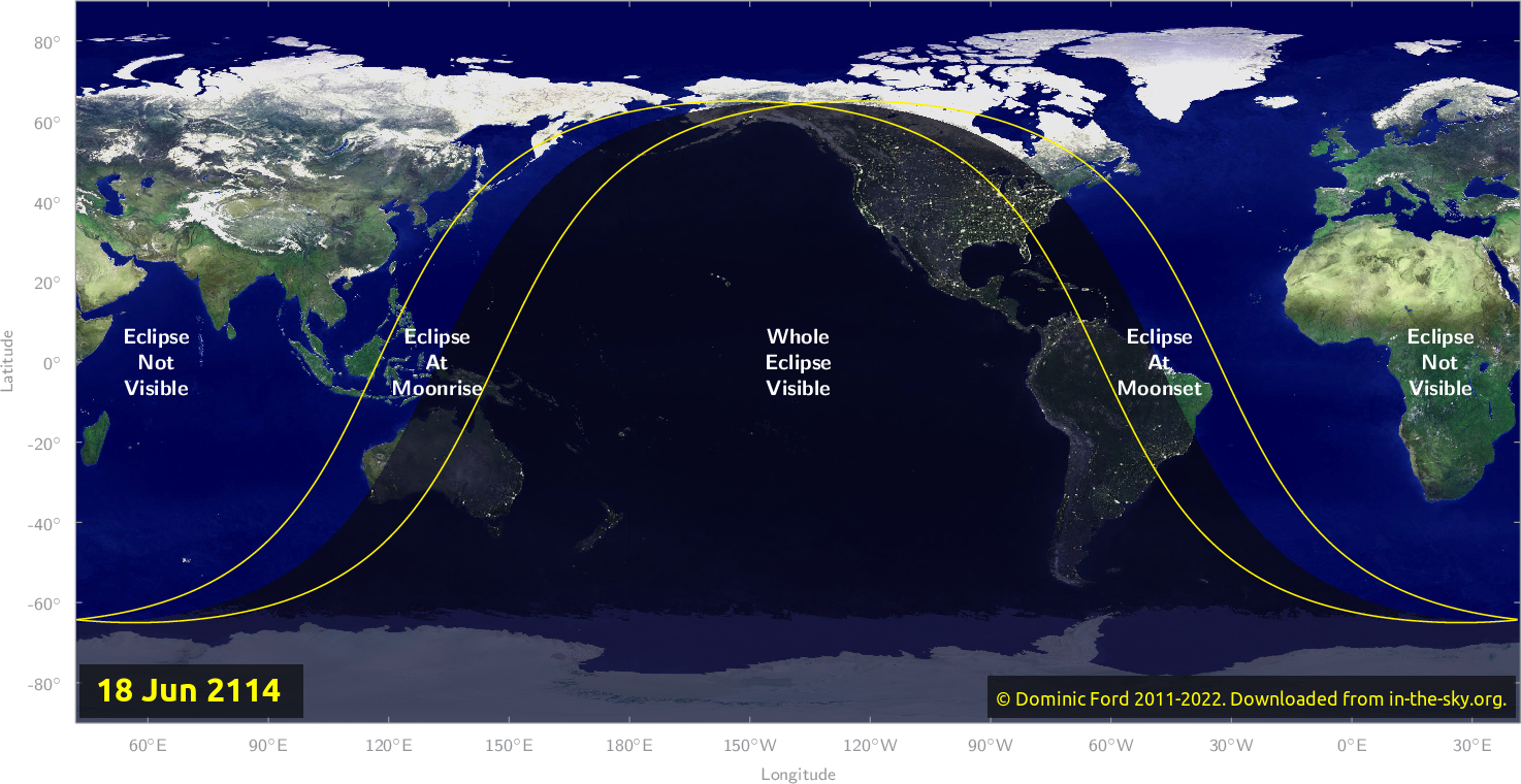 Map of where the eclipse of June 2114 will be visible.