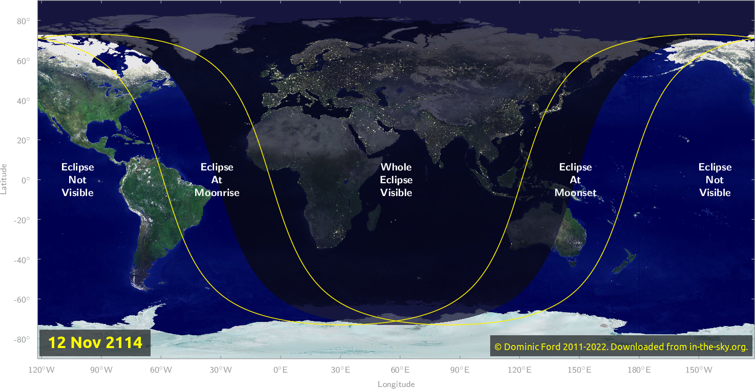 Map of where the eclipse of November 2114 will be visible.