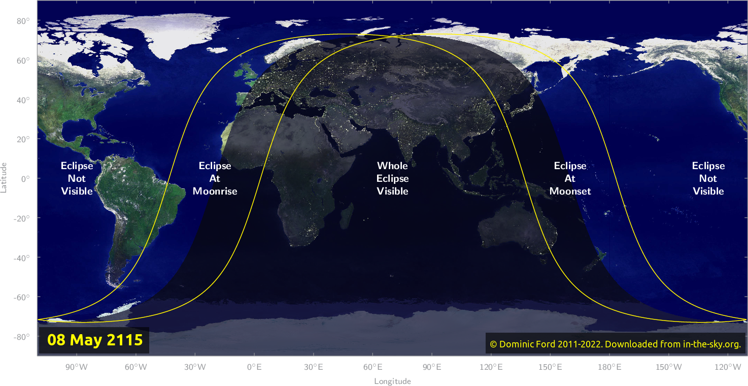 Map of where the eclipse of May 2115 will be visible.