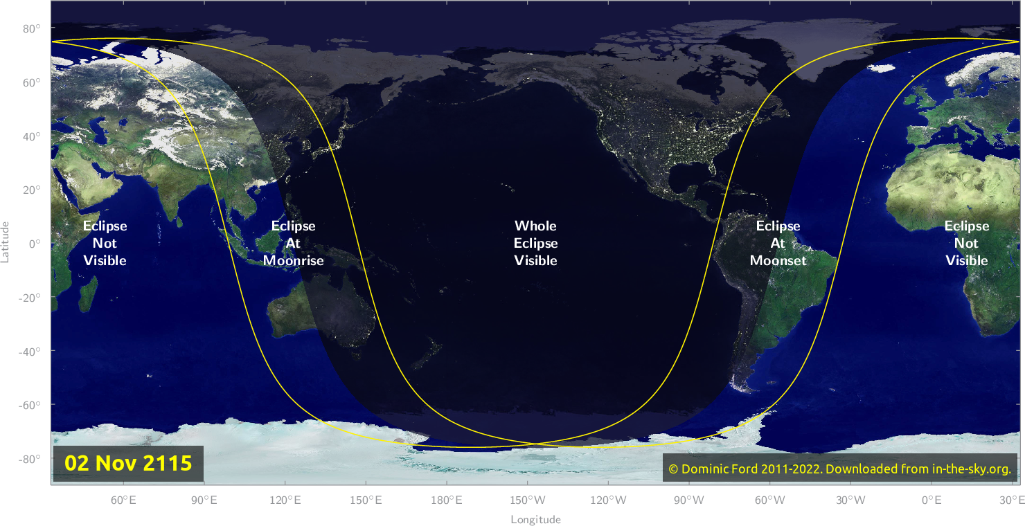 Map of where the eclipse of November 2115 will be visible.