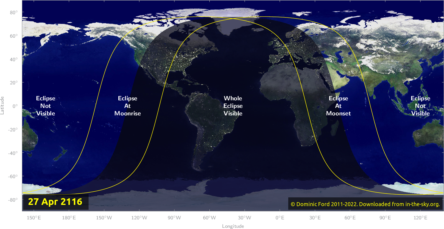 Map of where the eclipse of April 2116 will be visible.