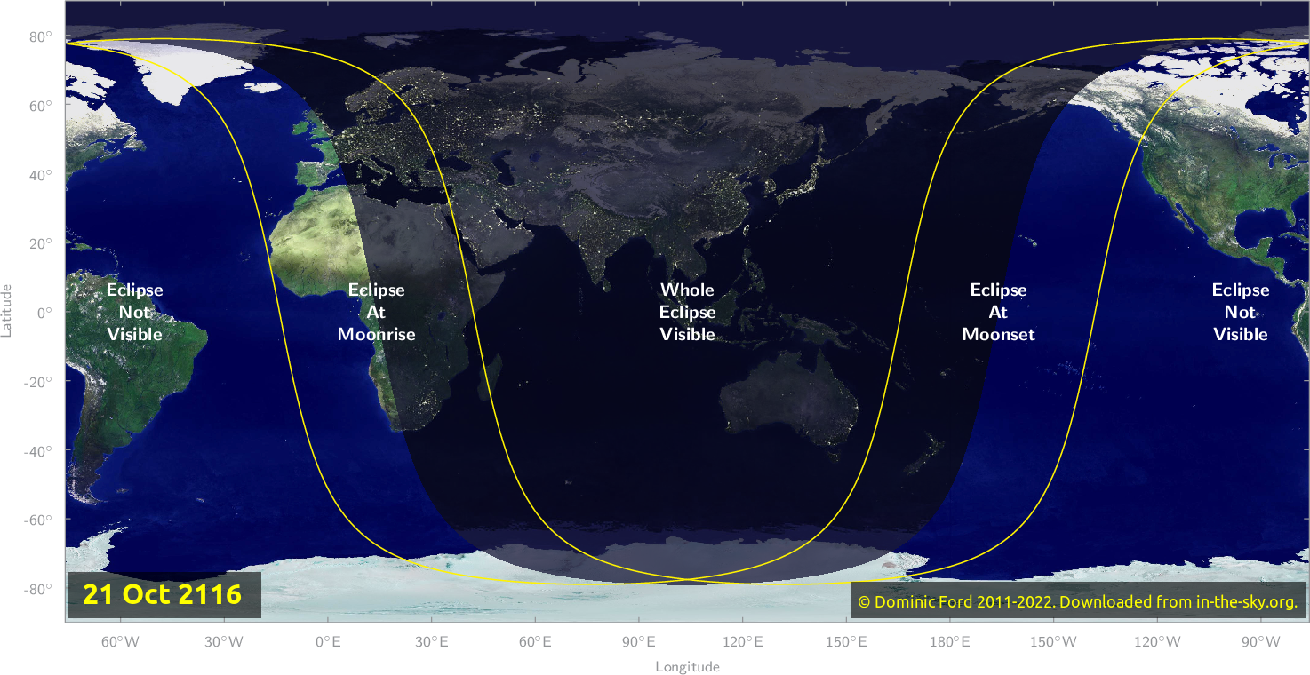 Map of where the eclipse of October 2116 will be visible.