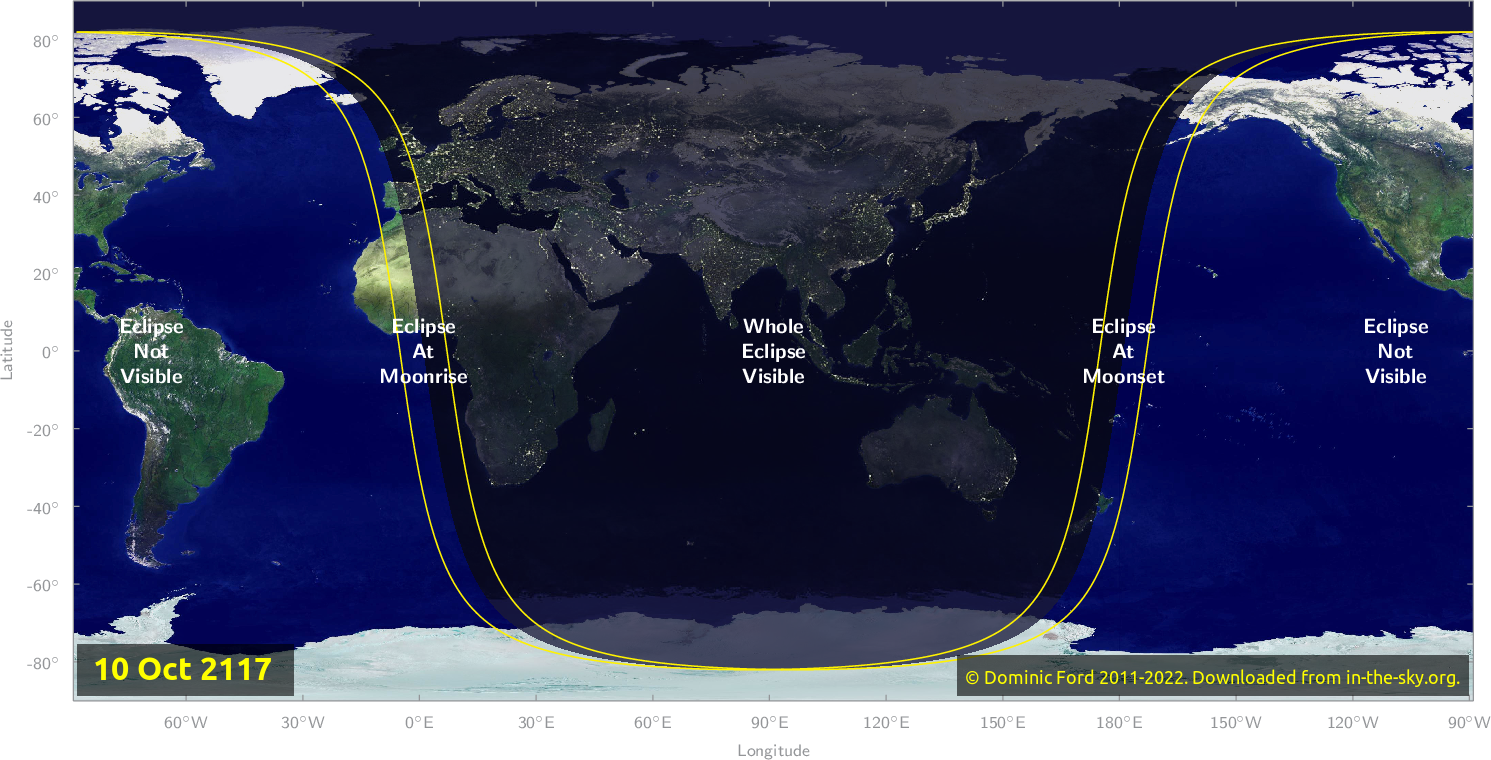 Map of where the eclipse of October 2117 will be visible.
