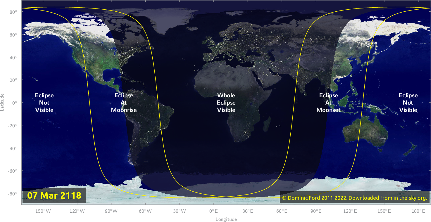 Map of where the eclipse of March 2118 will be visible.