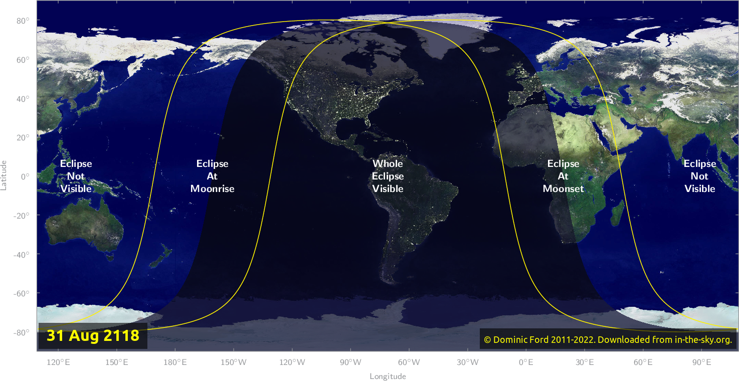 Map of where the eclipse of August 2118 will be visible.