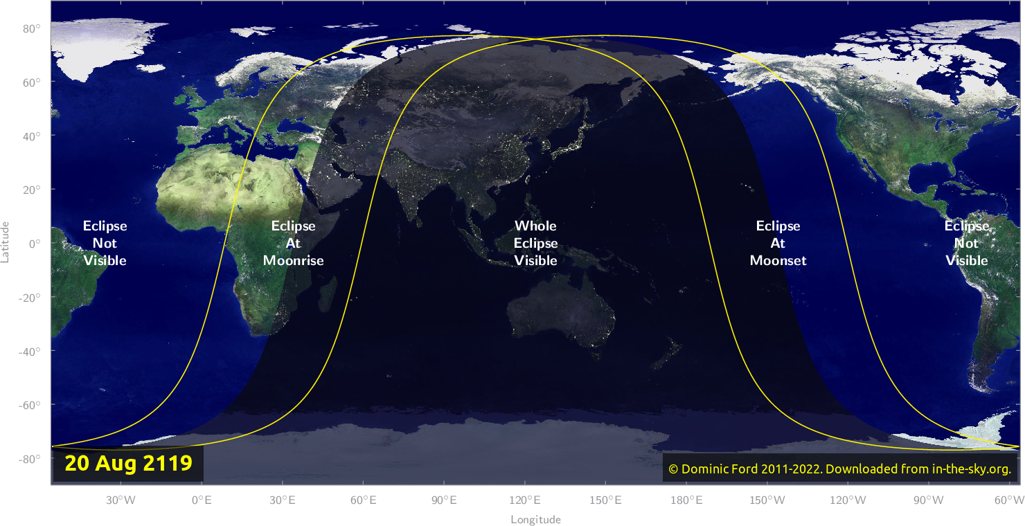 Map of where the eclipse of August 2119 will be visible.