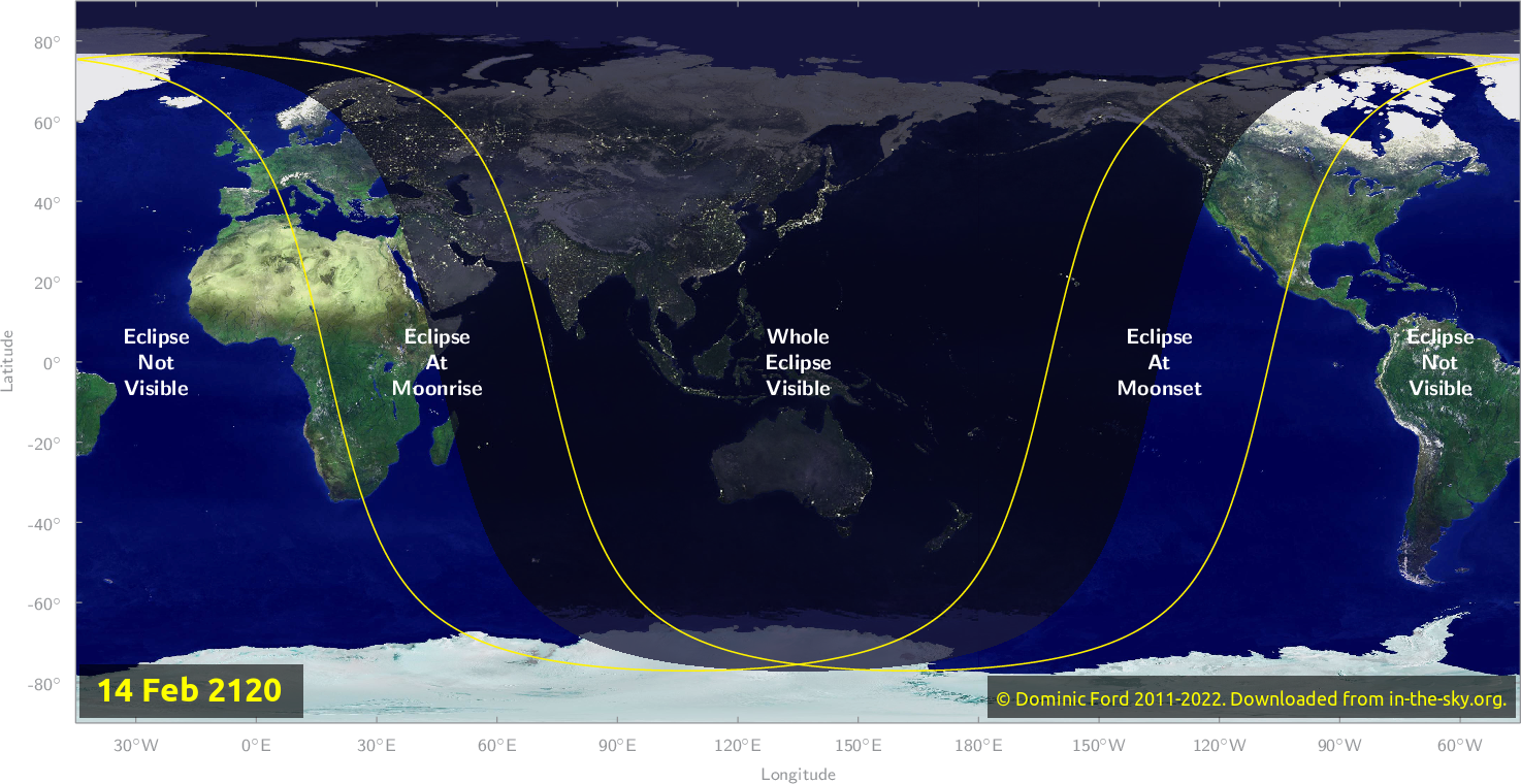 Map of where the eclipse of February 2120 will be visible.