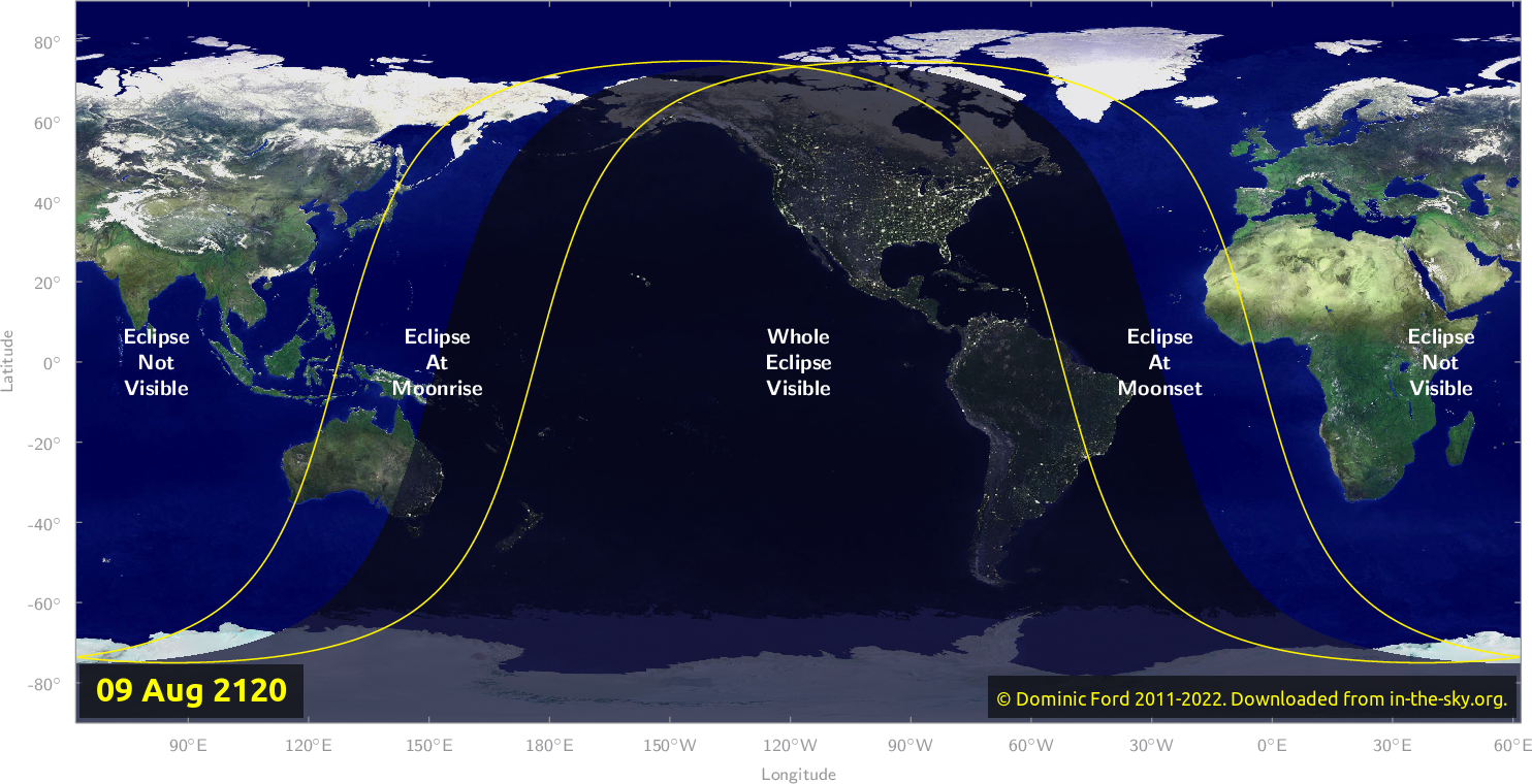 Map of where the eclipse of August 2120 will be visible.
