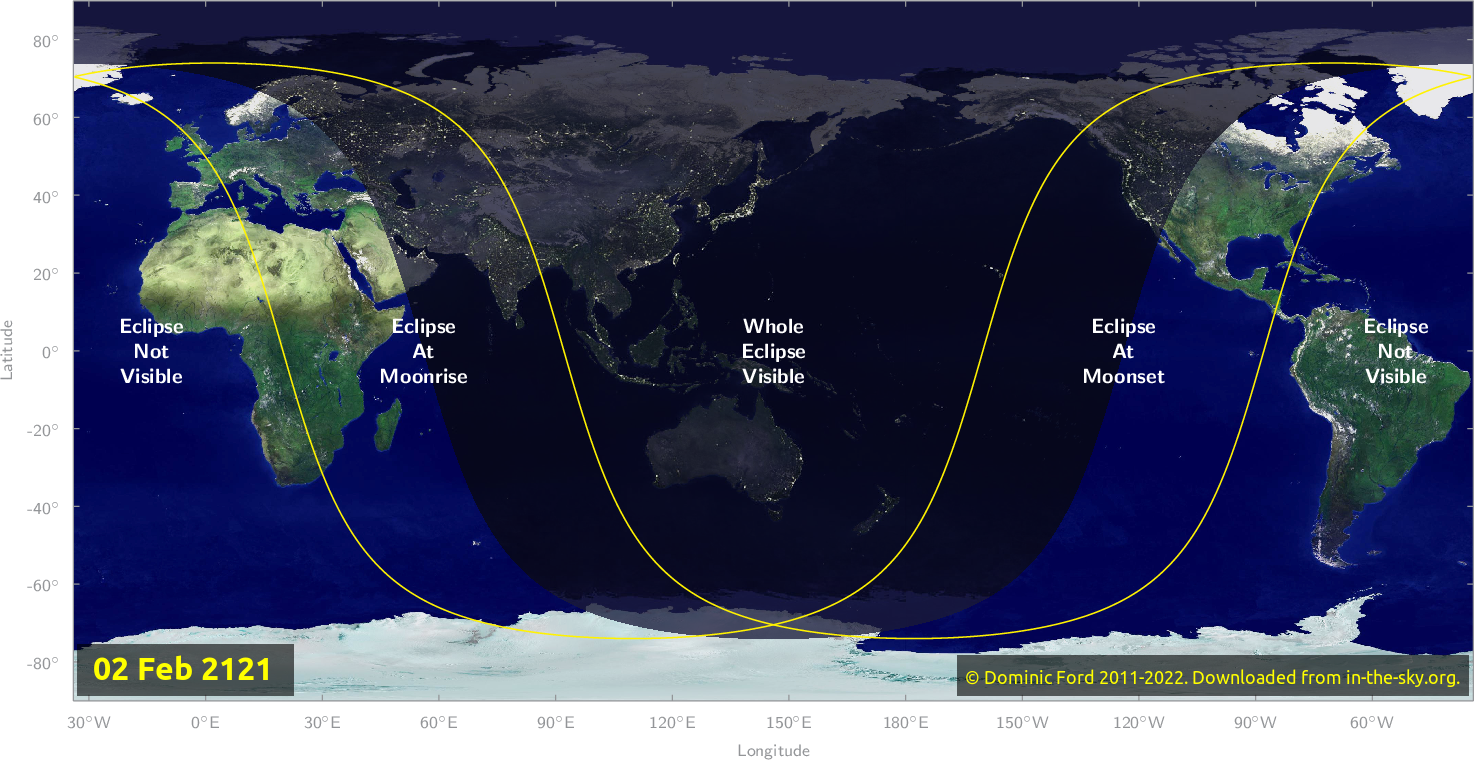 Map of where the eclipse of February 2121 will be visible.