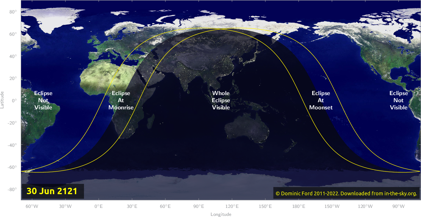 Map of where the eclipse of June 2121 will be visible.