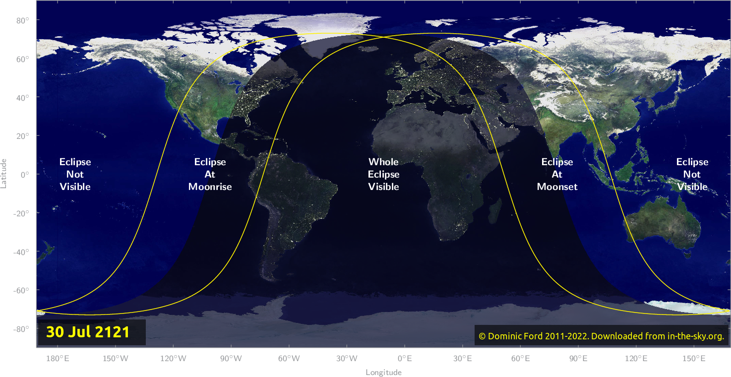 Map of where the eclipse of July 2121 will be visible.