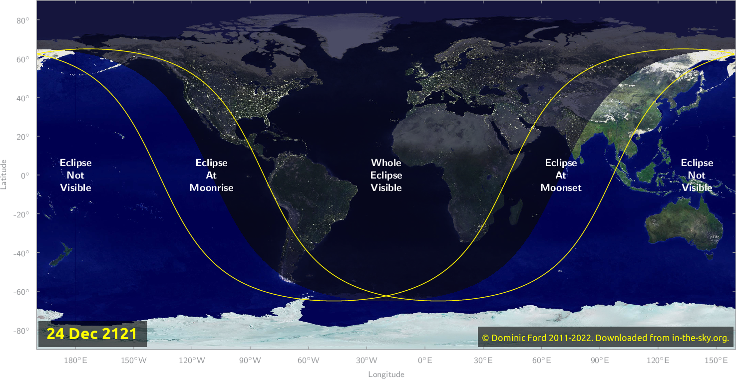 Map of where the eclipse of December 2121 will be visible.