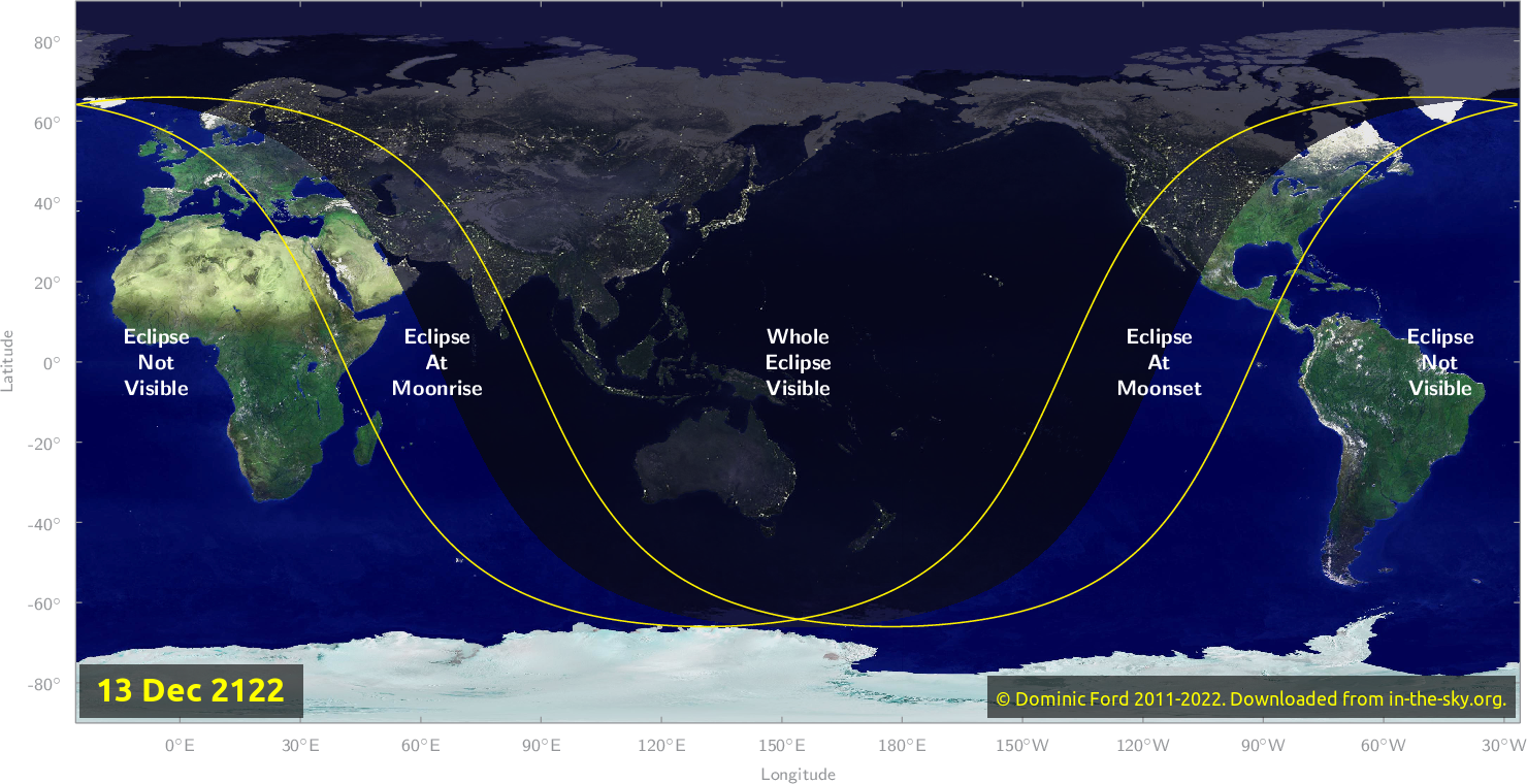 Map of where the eclipse of December 2122 will be visible.