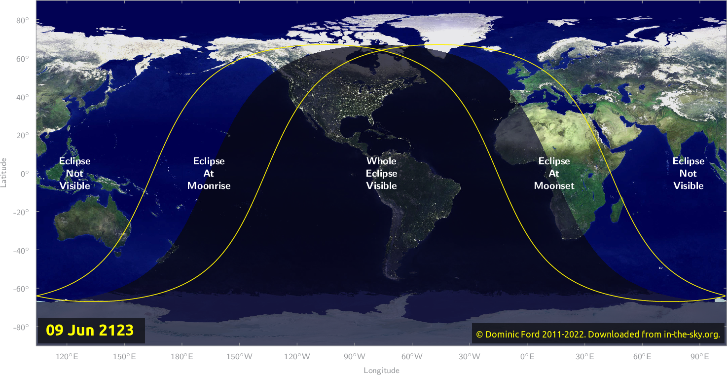 Map of where the eclipse of June 2123 will be visible.