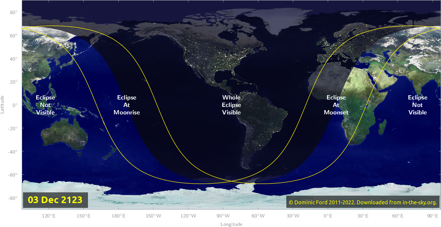 Map of where the eclipse of December 2123 will be visible.