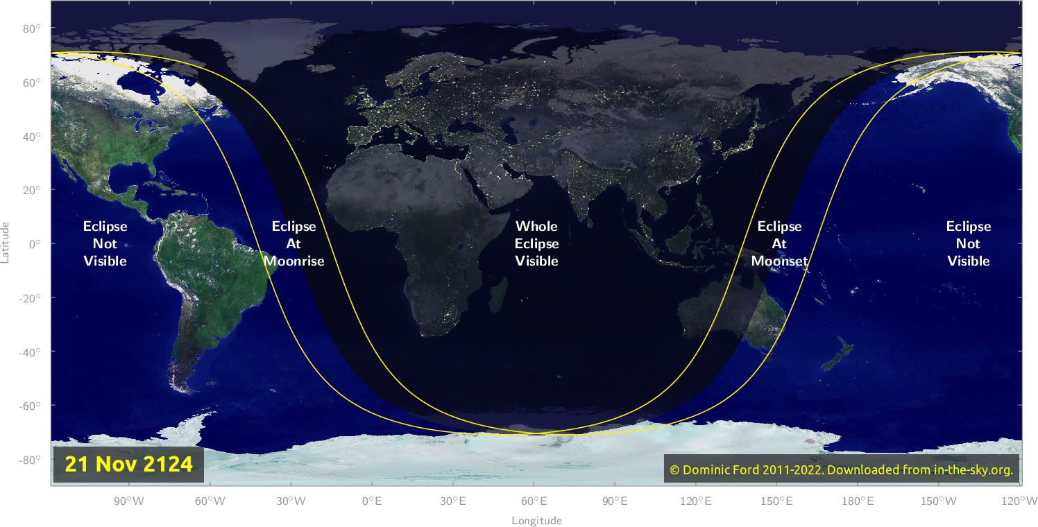 Map of where the eclipse of November 2124 will be visible.