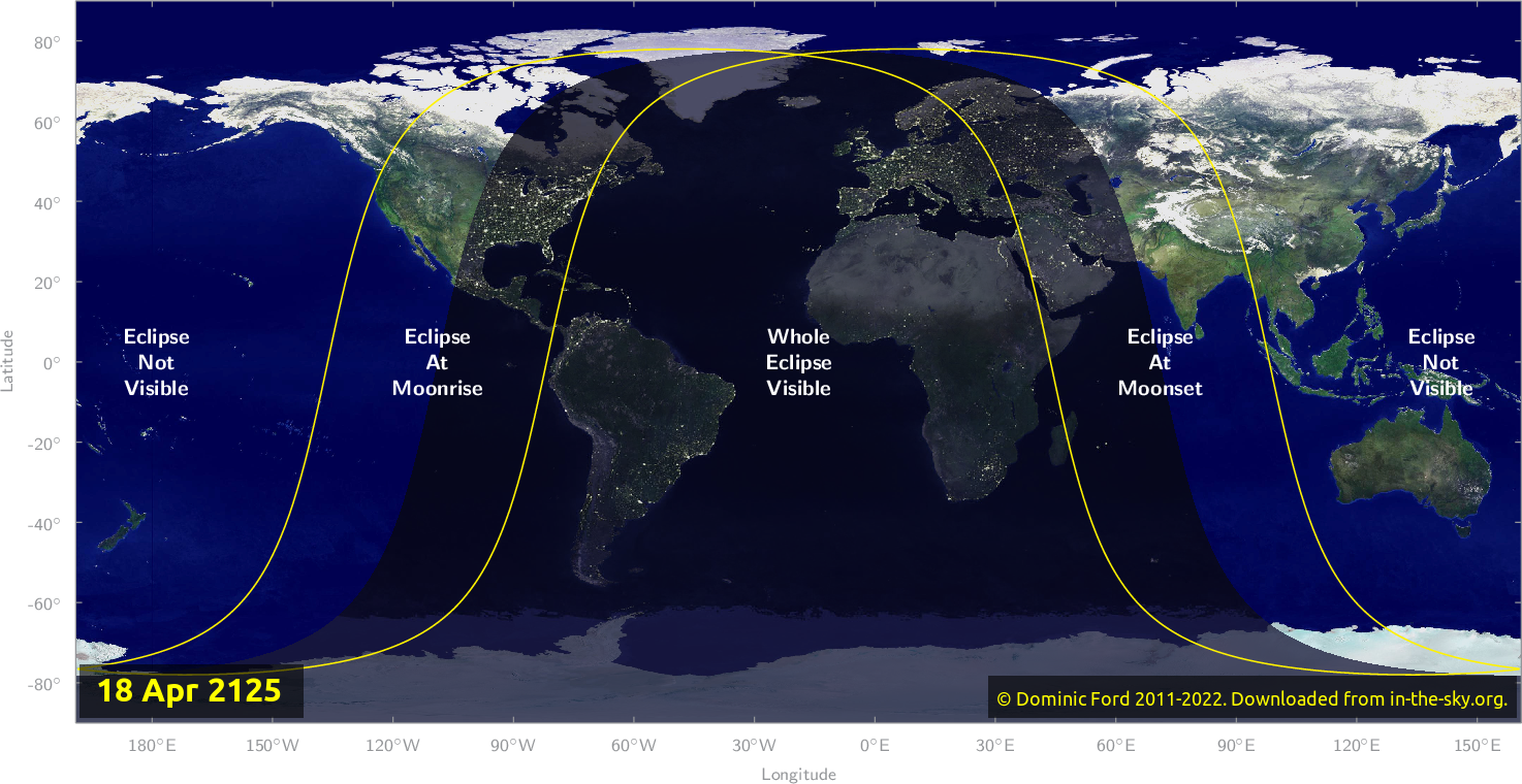 Map of where the eclipse of April 2125 will be visible.