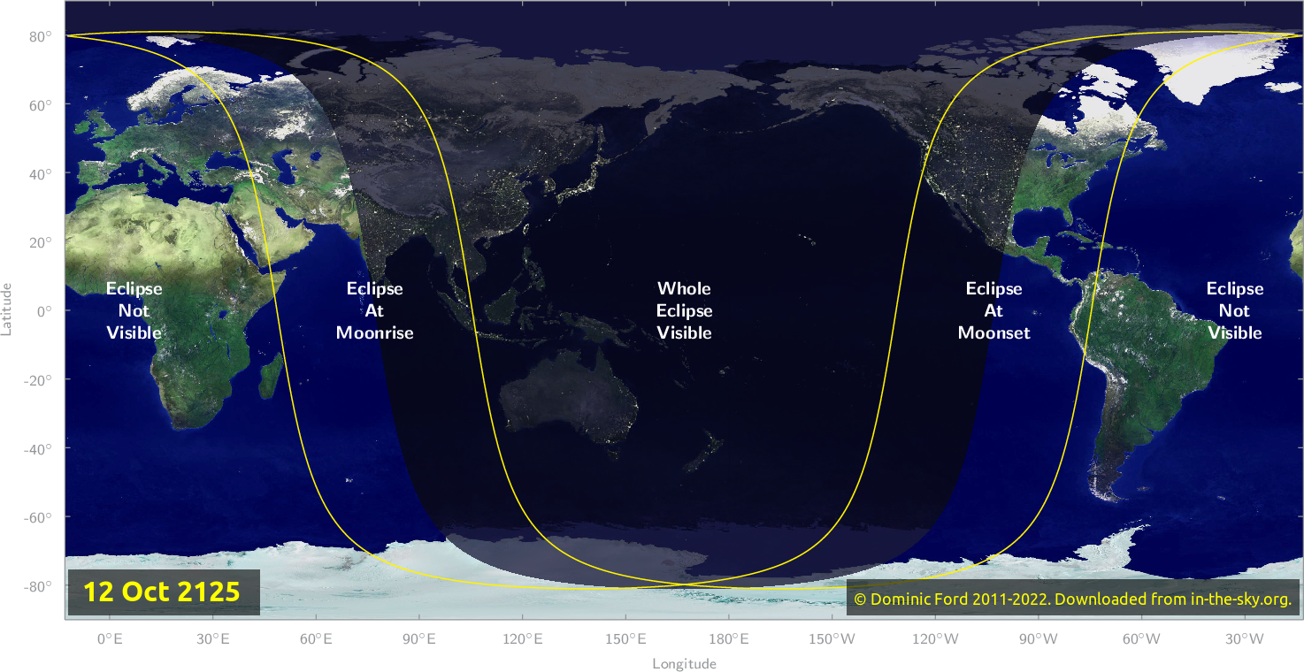 Map of where the eclipse of October 2125 will be visible.