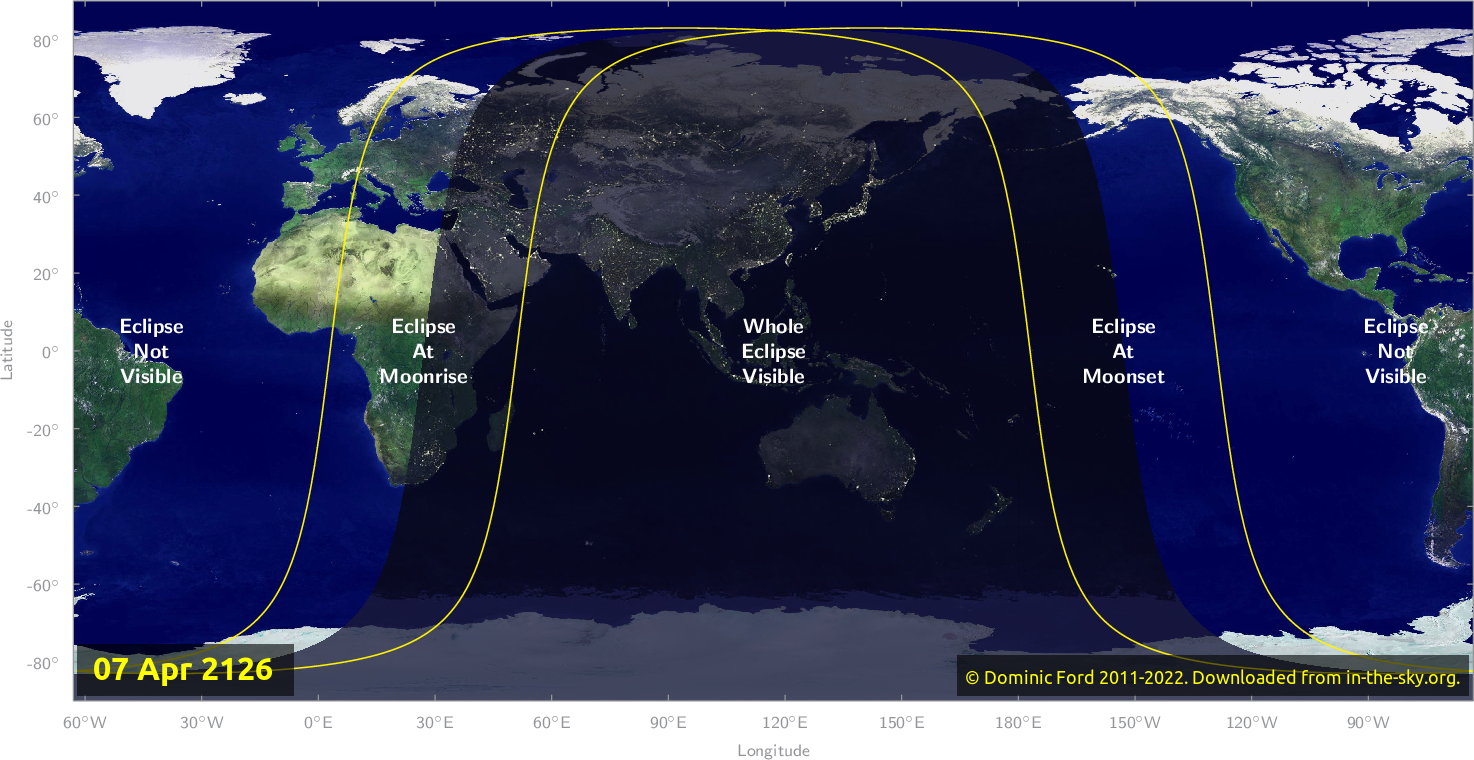 Map of where the eclipse of April 2126 will be visible.