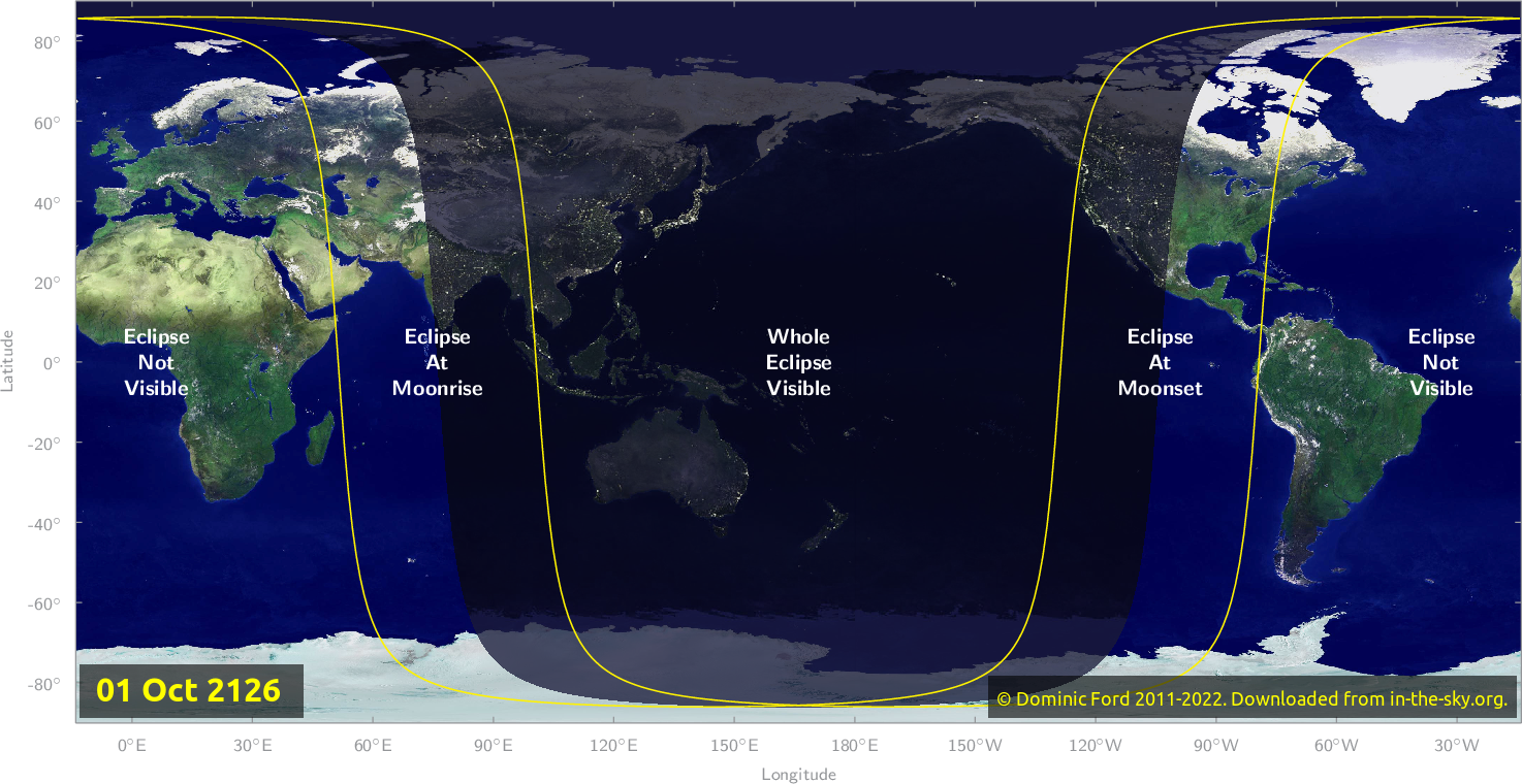Map of where the eclipse of October 2126 will be visible.