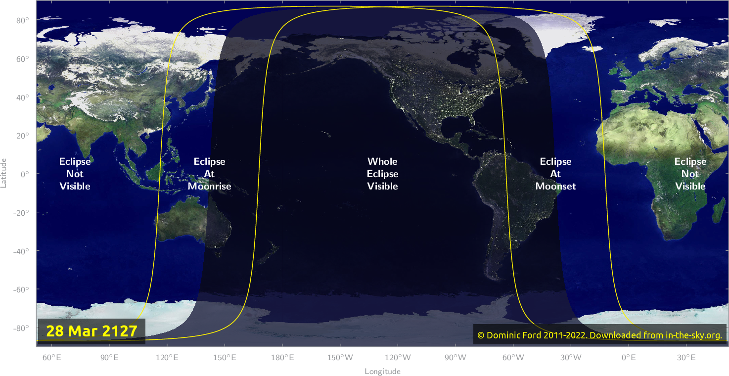 Map of where the eclipse of March 2127 will be visible.