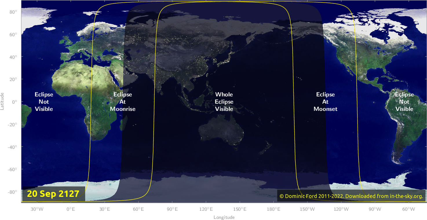 Map of where the eclipse of September 2127 will be visible.