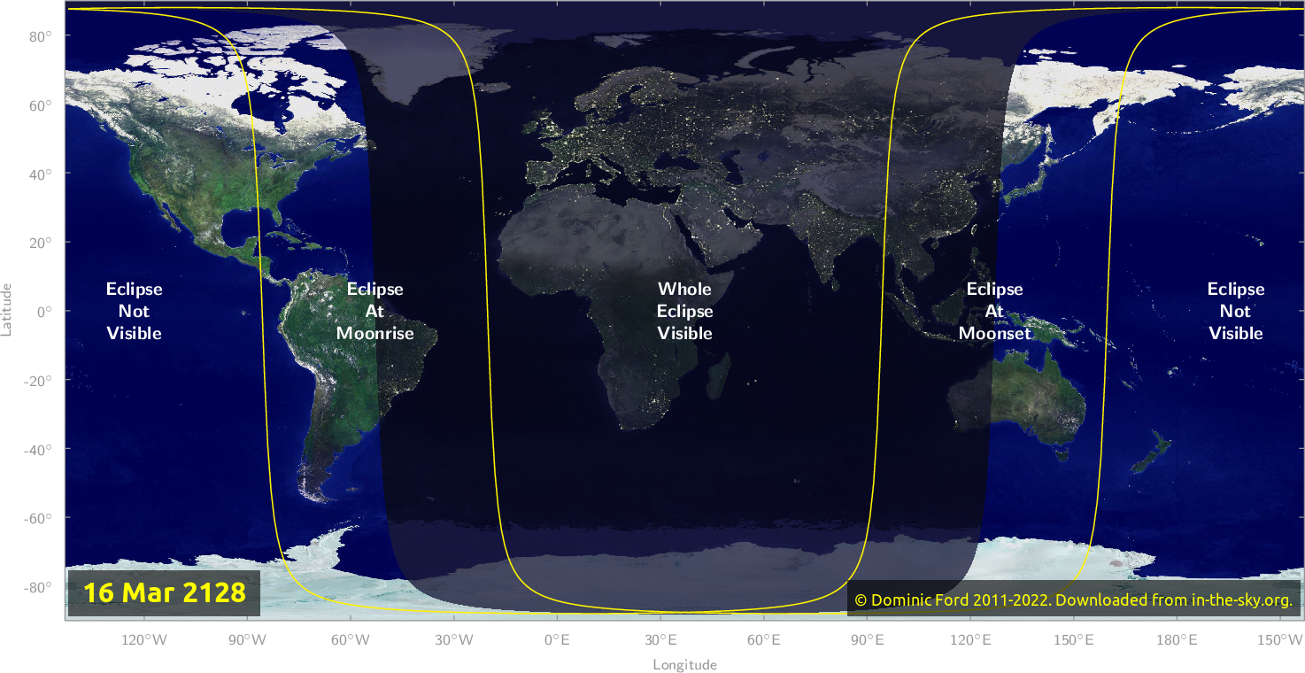 Map of where the eclipse of March 2128 will be visible.
