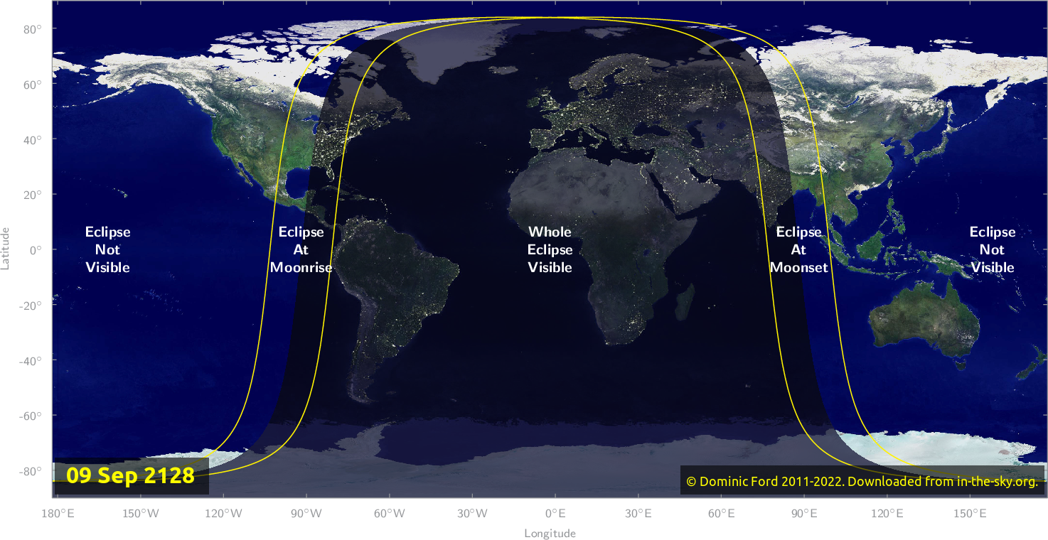 Map of where the eclipse of September 2128 will be visible.