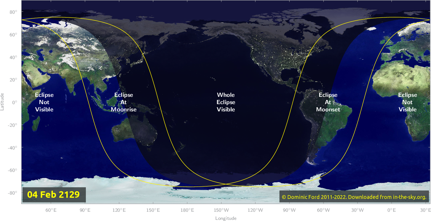 Map of where the eclipse of February 2129 will be visible.
