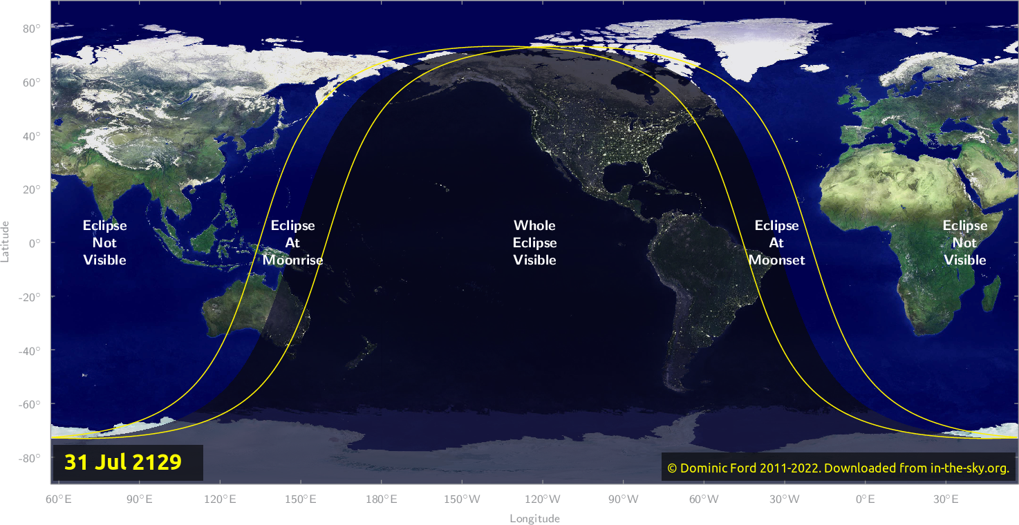 Map of where the eclipse of July 2129 will be visible.