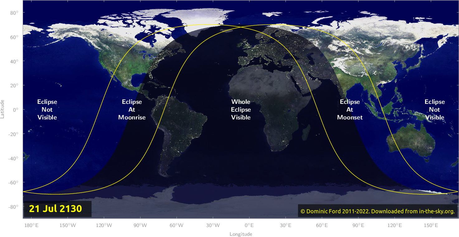 Map of where the eclipse of July 2130 will be visible.