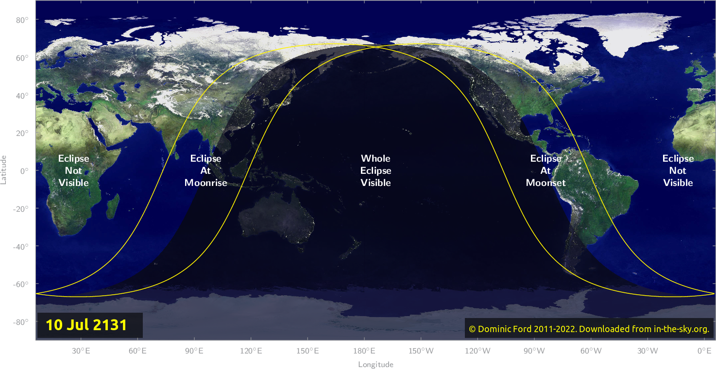 Map of where the eclipse of July 2131 will be visible.