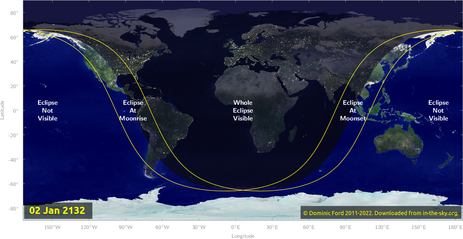 Map of where the eclipse of January 2132 will be visible.