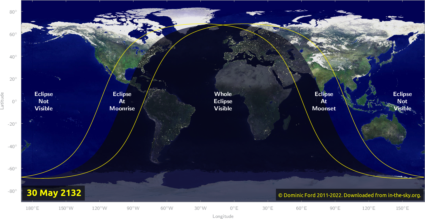 Map of where the eclipse of May 2132 will be visible.