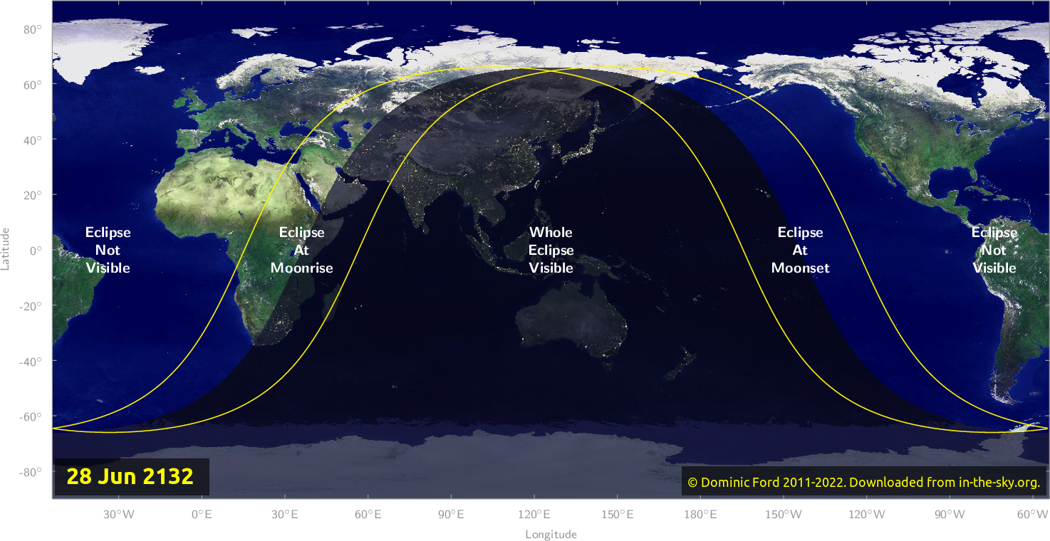 Map of where the eclipse of June 2132 will be visible.