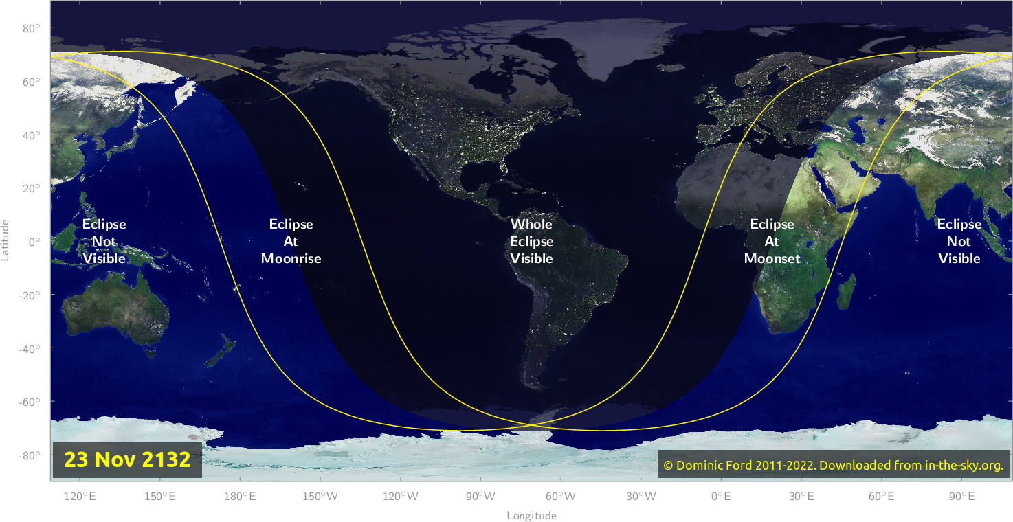Map of where the eclipse of November 2132 will be visible.