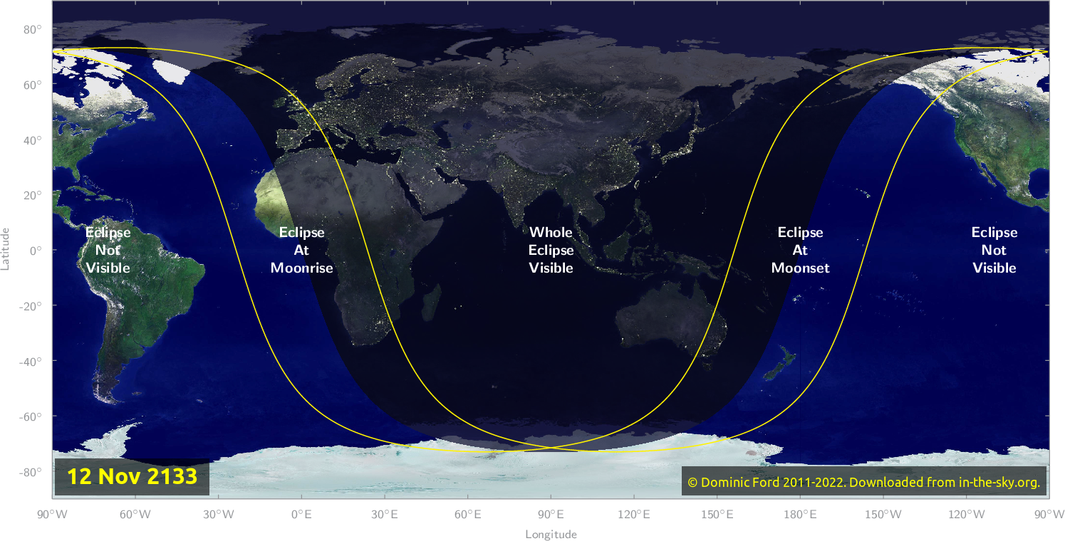 Map of where the eclipse of November 2133 will be visible.