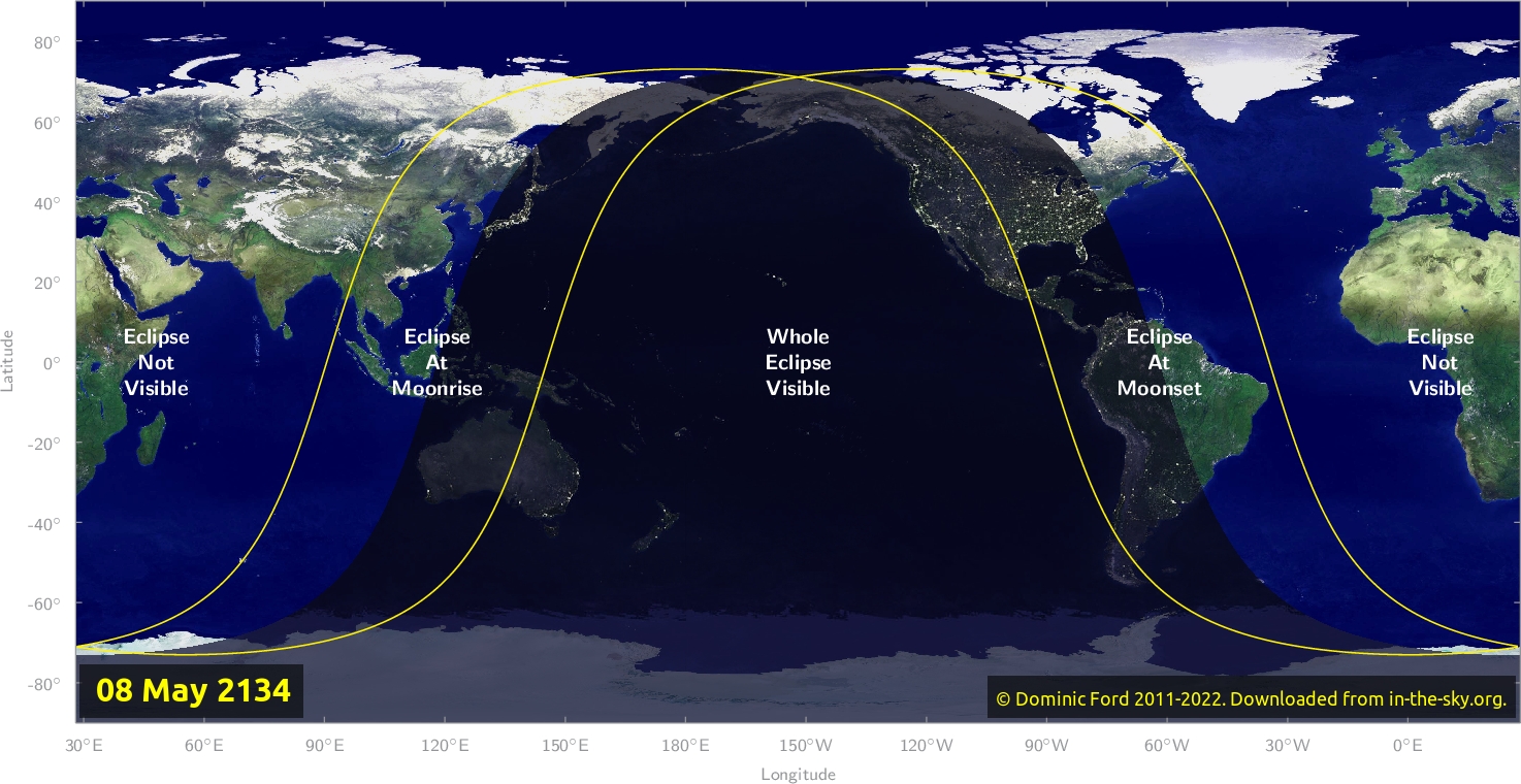 Map of where the eclipse of May 2134 will be visible.