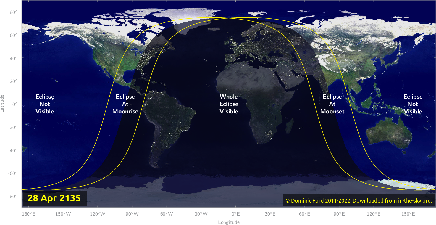 Map of where the eclipse of April 2135 will be visible.