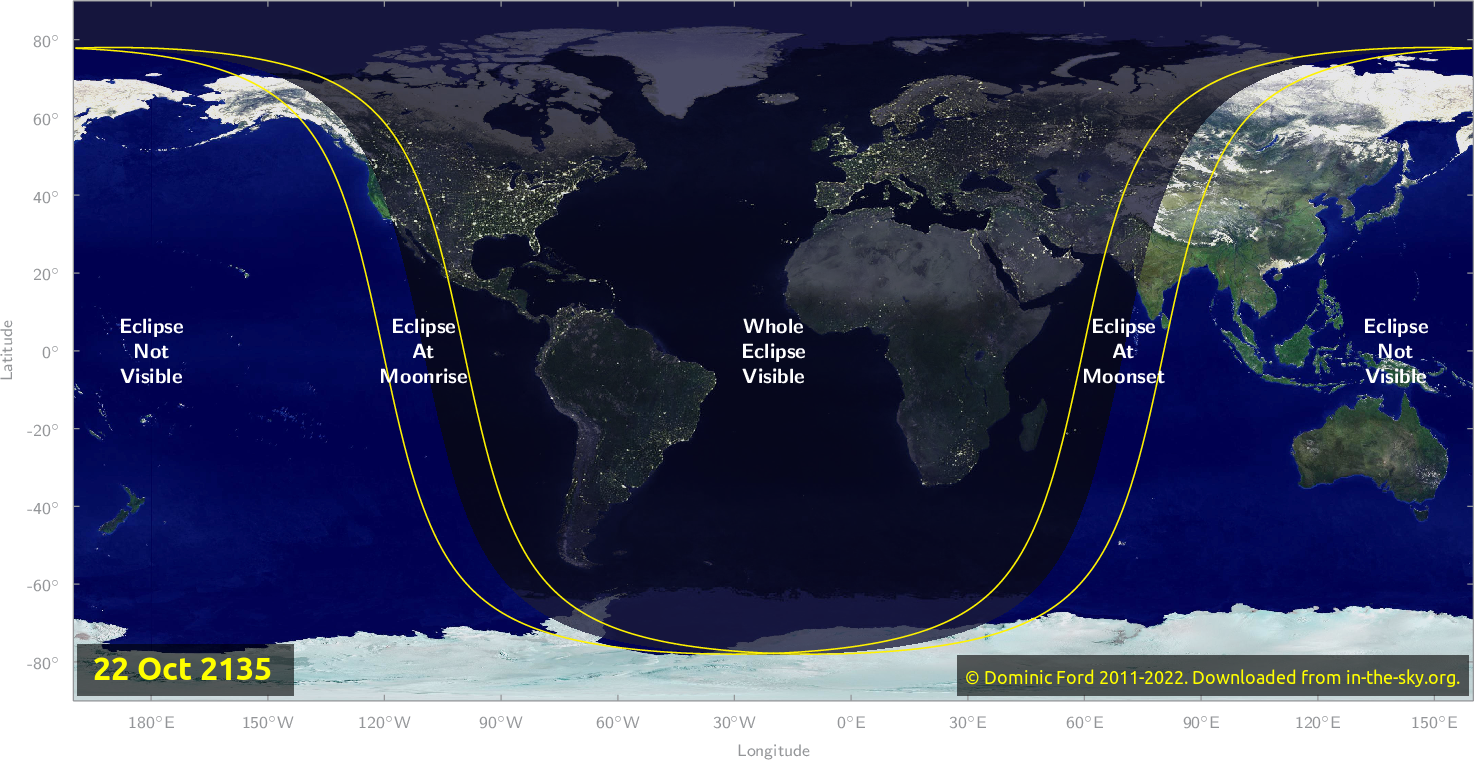 Map of where the eclipse of October 2135 will be visible.