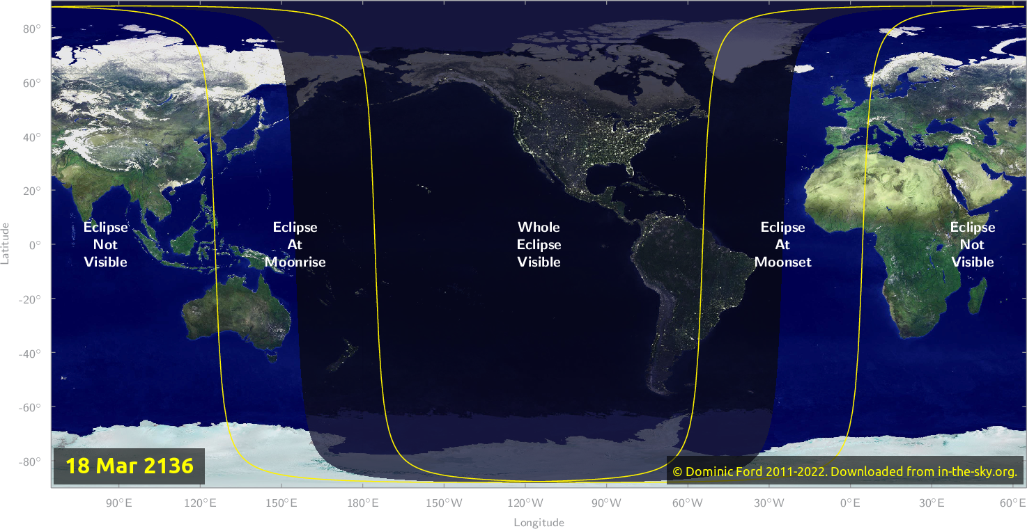 Map of where the eclipse of March 2136 will be visible.