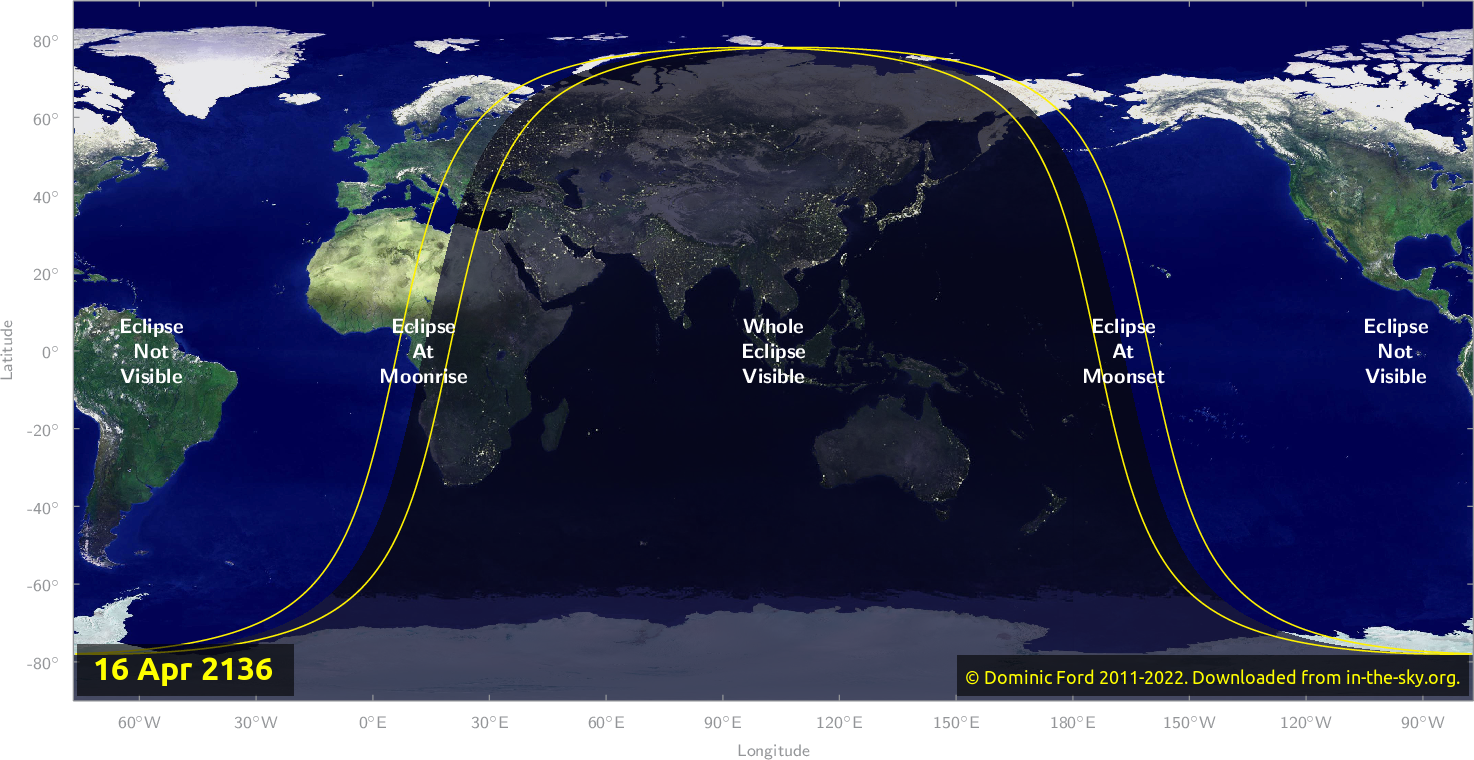 Map of where the eclipse of April 2136 will be visible.