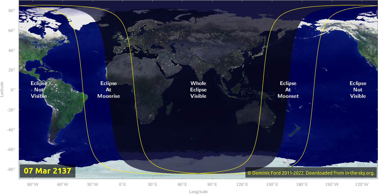 Map of where the eclipse of March 2137 will be visible.