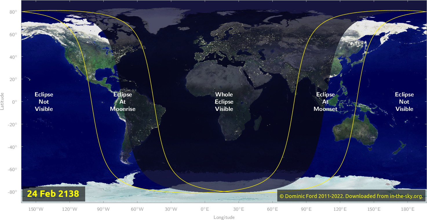 Map of where the eclipse of February 2138 will be visible.