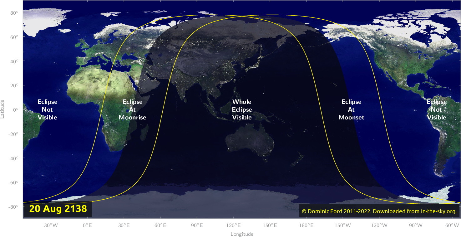 Map of where the eclipse of August 2138 will be visible.