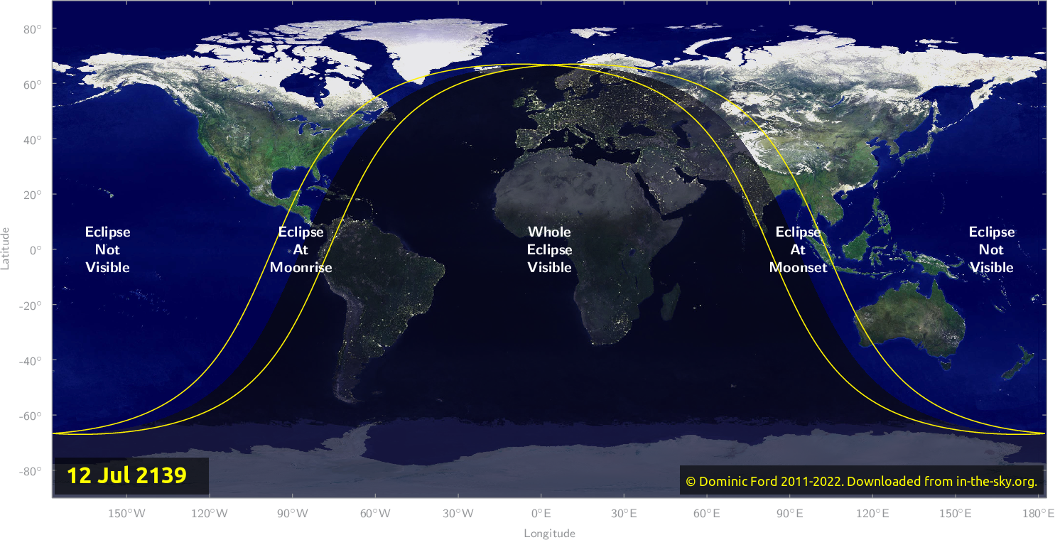 Map of where the eclipse of July 2139 will be visible.