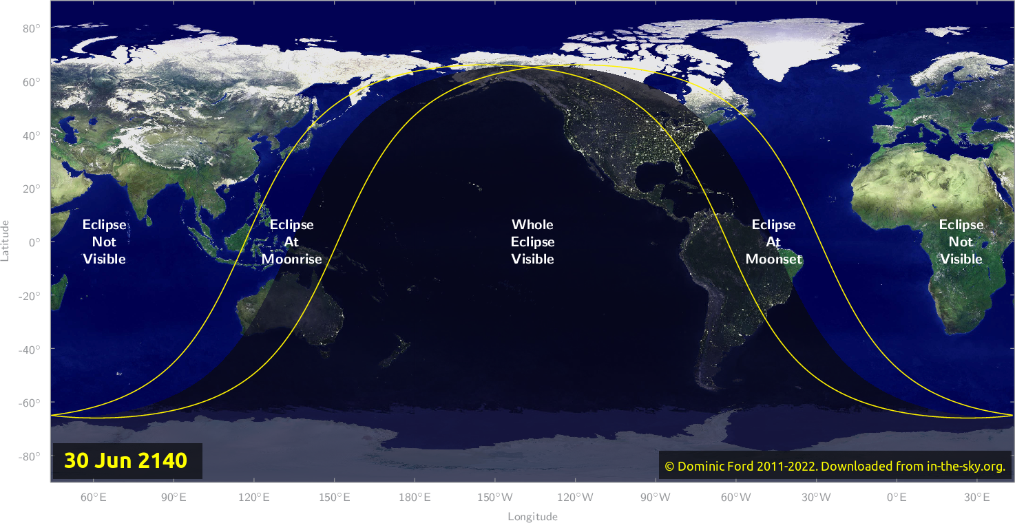 Map of where the eclipse of June 2140 will be visible.