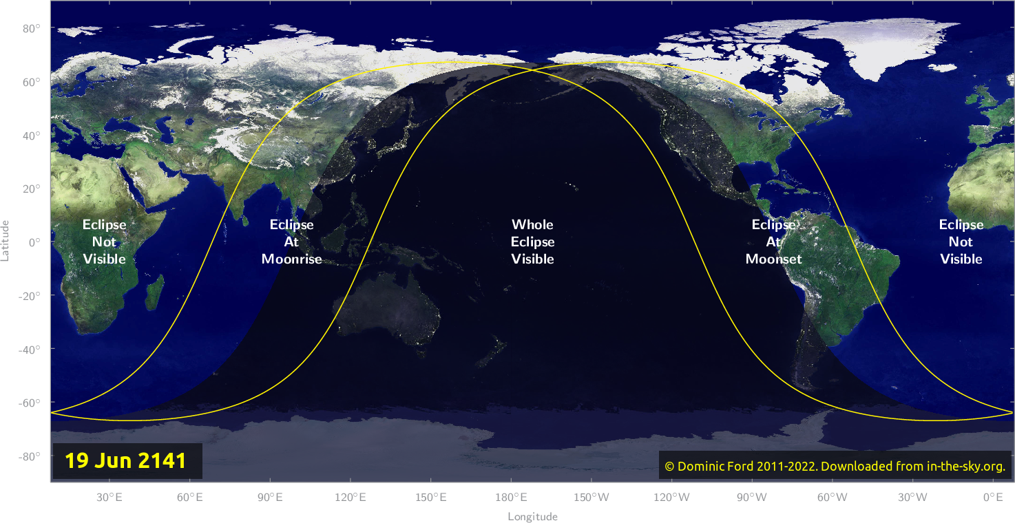 Map of where the eclipse of June 2141 will be visible.